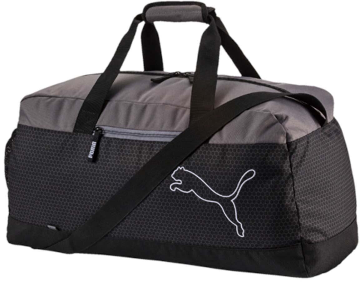 Сумка спортивная Puma Echo Sports Bag, цвет: черный. 07439701KV996OPY/MСумка спортивная Puma выполнена из гладкого текстиля. У модели застежка на молнию, одно отделение, внутри один накладной карман, снаружи один карман на молнии, один накладной карман, регулируемый ремень, удобные ручки.