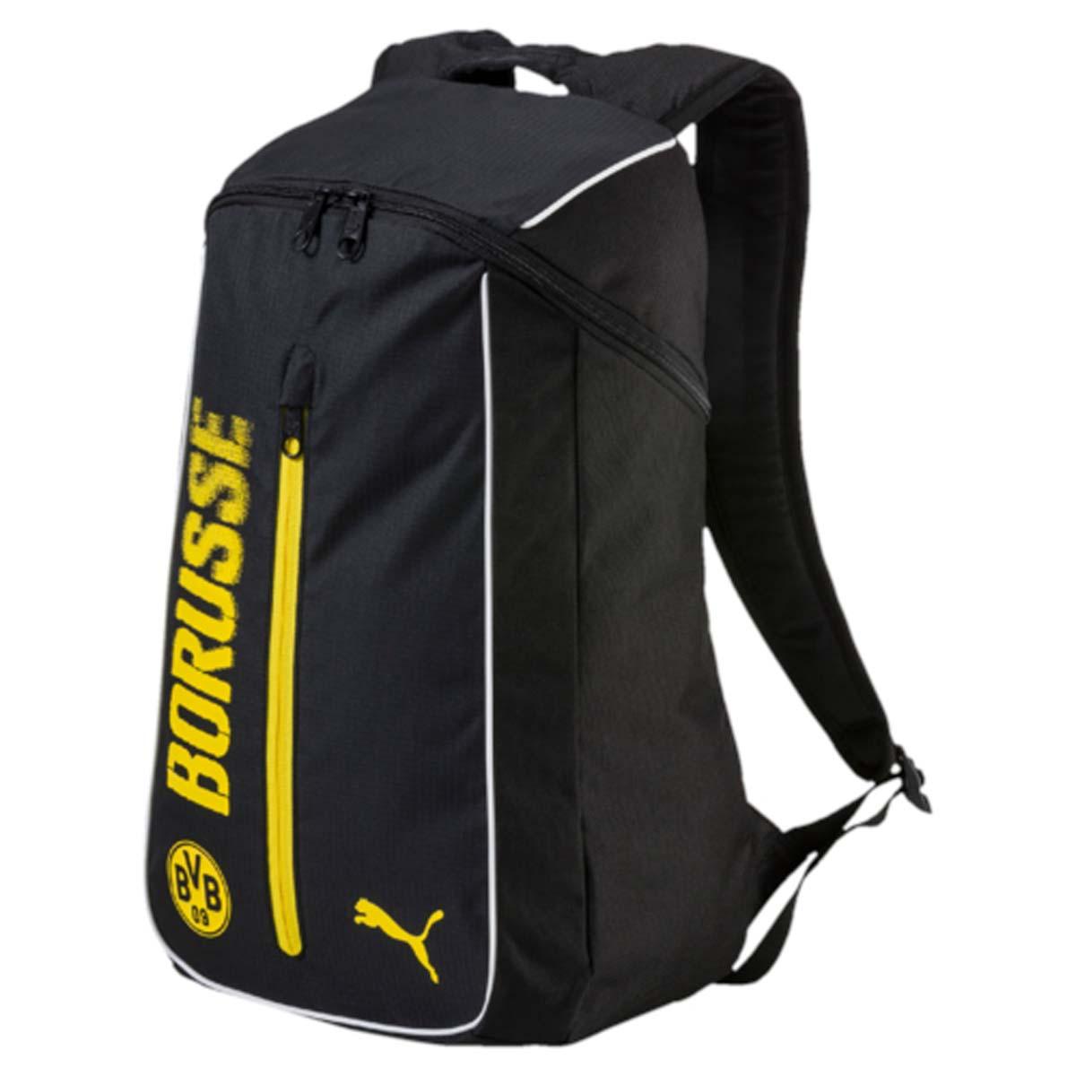 Рюкзак Puma Bvb Fanwear Backpack, цвет: черный. 07462201BA9334Рюкзак Puma выполнен из текстиля. У модели одно основное отделение. Передний карман на молнии. Рюкзак с регулируемыми по длине плечевыми лямками и петлей для подвешивания.