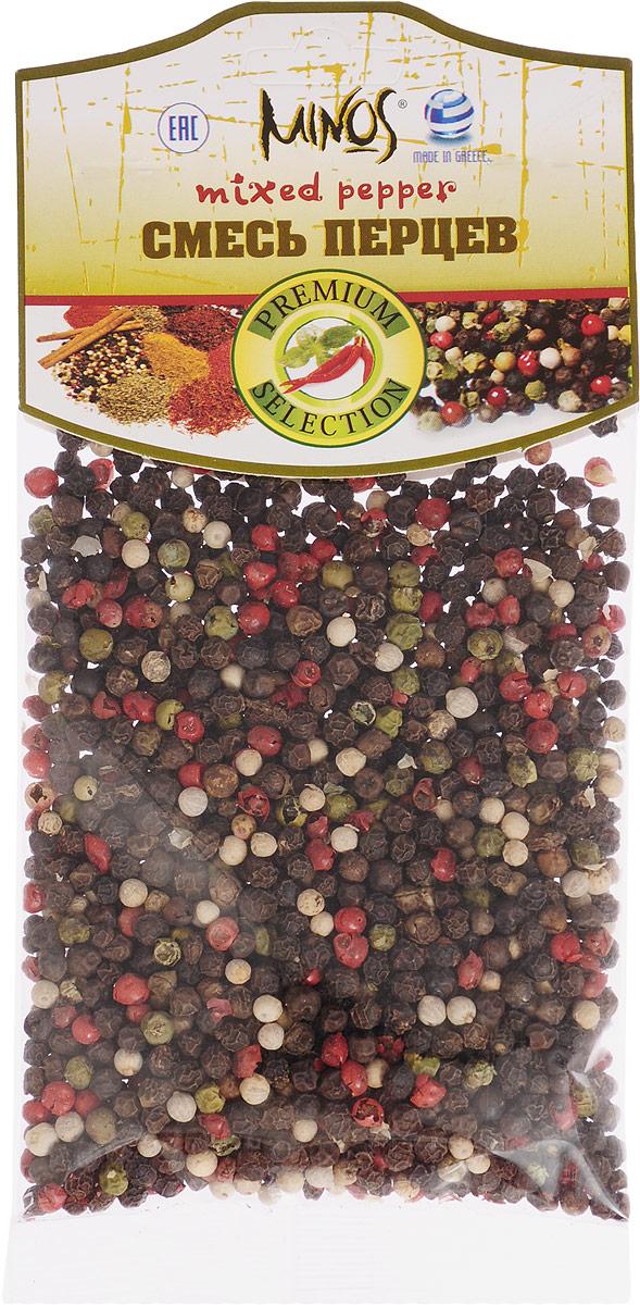 Minos Смесь перцев, 50 г0120710Великолепно подобранным и сбалансированным по вкусовым качествам продуктом является приправа под названием Смесь перцев. Традиционно в нее входят горошины черного, белого, розового и зеленого перцев. Восхитительный аромат и непревзойденный вкус подарит эта смесь. Перец белого цвета по вкусу нежнее и намного ароматнее черного, добавит блюдам легкую остроту. Горошины зеленого перца имеют пряный аромат и достаточно резкий острый вкус, способствует скорейшему перевариванию тяжелой пищи, а розовый перец имеет сложный и насыщенный аромат с тонами цитрусовых, имбиря и аниса.Самое правильное использование приправы - помолоть ее прямо на готовое блюдо, салат, закуску или стейк (калоризатор). Но, если смесь перцев используется во время приготовления кушаний, то лучше добавлять ее в самом конце процесса, во избежание потери аромата.