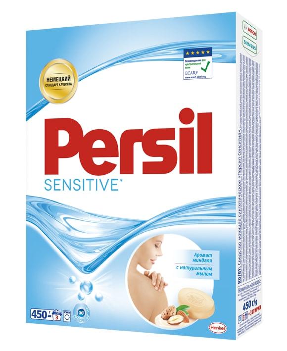 Стиральный порошок Persil Сенситив 450 гGC204/30Persil Sensitive прекрасно подходит для стирки белья людей с чувствительной кожей.Удаляет даже сложные пятна. Содержит натуральное мыло. Persil Sensitive имеет нежный аромат миндаля. Дерматологически протестирован. Рекомендован Европейским центром исследований проблем аллергии (ECARF) для людей с чувствительной кожей.Состав: 5-15% анионные ПАВ, кислородсодержащий отбеливатель;Товар сертифицирован.