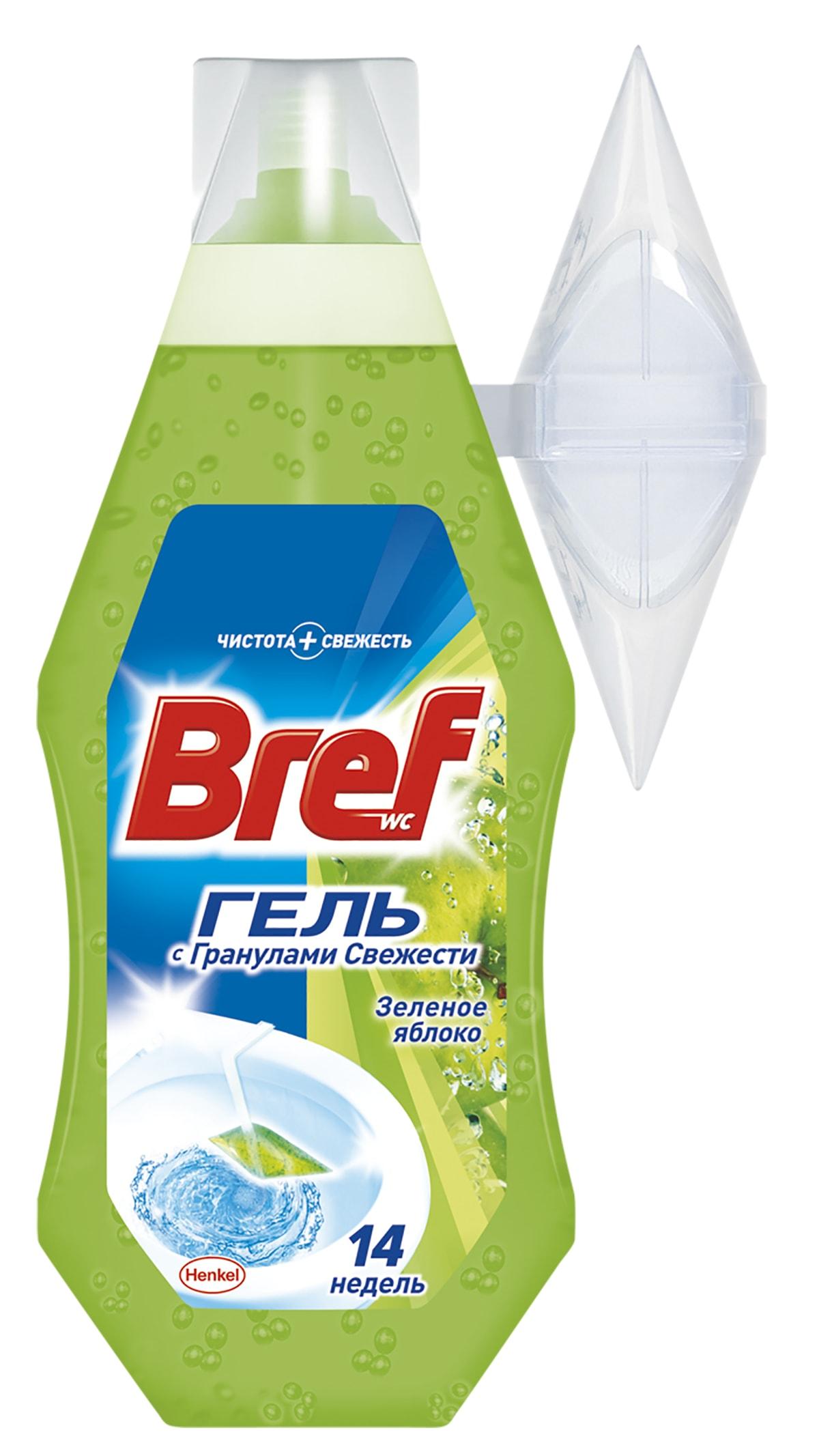 Освежитель для туалета Bref Гель Зеленое Яблоко 360мл68/5/3Освежитель для туалета Bref Гель обеспечивает чистоту и превосходный свежий аромат после каждого смывания. Упаковки Bref Гель 360мл хватает на 14 недель использования! Повесьте корзинку на край унитаза и наполните гелем Bref, как показано на рисунке на упаковке продукта.Состав: 5-15% анионные ПАВ, неионогенные ПАВ; отдушка (в т.ч. лимонен, гексилциннамаль), полимеры, лимонная кислота, краситель; вода.Товар сертифицирован.
