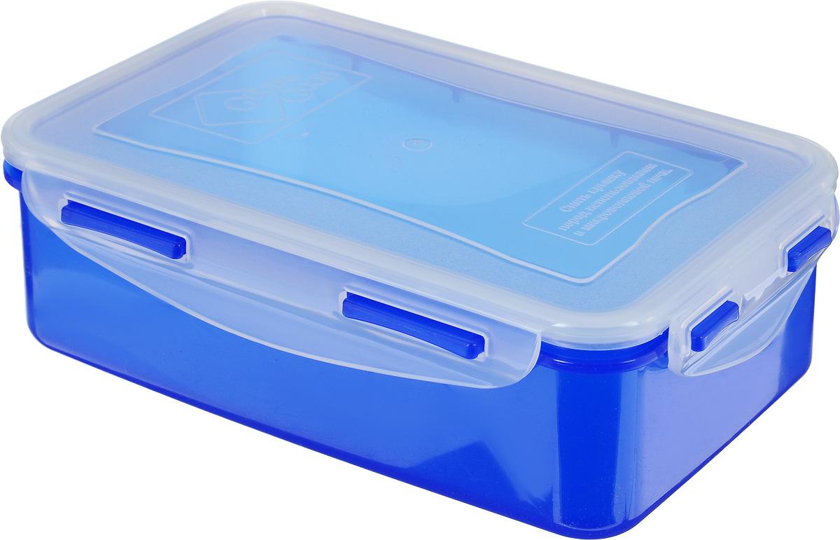 Контейнер пищевой Good&Good, цвет: синий, прозрачный, 1,1 л4630003364517Прямоугольный контейнер Good&Good изготовлен из высококачественного полипропилена и предназначен для хранения пищевых продуктов. Благодаря особым технологиям изготовления, изделие в течение срока службы не меняет цвет и не пропитывается запахами. Крышка с силиконовой вставкой герметично защелкивается и дольше сохраняет продукты свежими и вкусными. Контейнер Good&Good удобен для ежедневного использования в быту.Можно мыть в посудомоечной машине и использовать в микроволновой печи при температуре не более 100°С (перед разогревом необходимо снять крышку). Пригоден для хранения в морозильной камере при температуре не ниже -24°С.