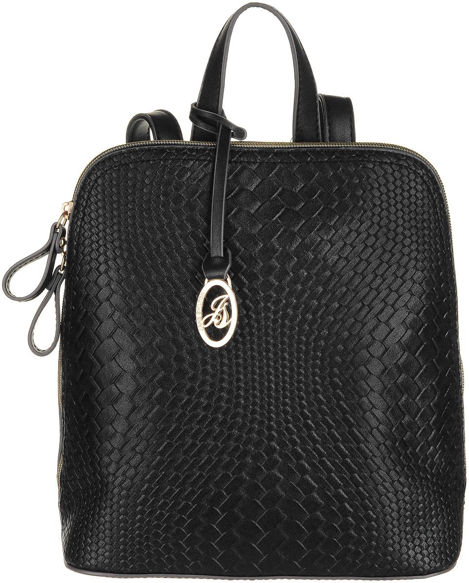 Рюкзак женский Jane Shilton, цвет: черный. 2214101225Стильный женский рюкзак Jane Shilton не оставит вас равнодушной благодаря своему дизайну и практичности. Он изготовлен искусственной кожи и оформлен декоративным тиснением. На тыльной стороне расположен небольшой вшитый карман на молнии. Рюкзак оснащен удобными лямками, длина которых регулируется с помощью пряжек. Также рюкзак имеет удобную ручку, которая оформлена фирменной металлической подвеской. Изделие закрывается на удобную молнию. Внутри расположено главное отделение, которое разделяет карман-средник на молнии. Также внутри расположен один открытый накладной карман для телефона и один вшитый карман на молнии для мелочей. Такой модный и практичный рюкзак завершит ваш образ и станет незаменимым аксессуаром в вашем гардеробе.