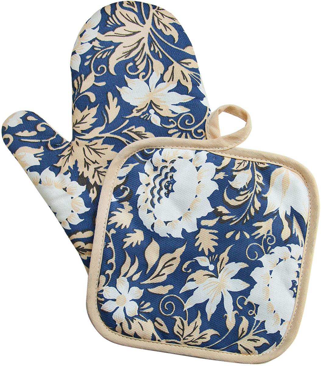 Набор прихваток Bonita Белые росы, 2 предметаK100Набор Bonita Белые росы состоит из прихватки-рукавицы и квадратной прихватки. Изделия выполнены из натурального хлопка и декорированы оригинальным рисунком. Прихватки простеганы, а края окантованы. Оснащены специальными петельками, за которые их можно подвесить на крючок в любом удобном для вас месте. Такой набор красиво дополнит интерьер кухни.