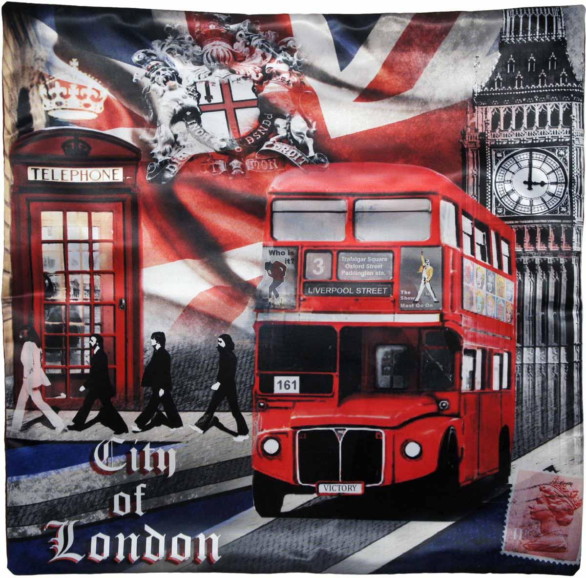 Наволочка для декоративной подушки GiftnHome Лондонские фантазии, цвет: красный, синий, черный, 45 х 45 смБрелок для ключейИзделие изготовлено из искусственного шелка - атласа! Наволочка на молнии