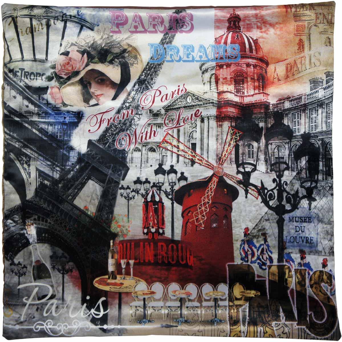 Наволочка для декоративной подушки GiftnHome Парижские фантазии, цвет: красный, черный, серый, 45 х 45 см1004900000360Изделие изготовлено из искусственного шелка - атласа! Наволочка на молнии