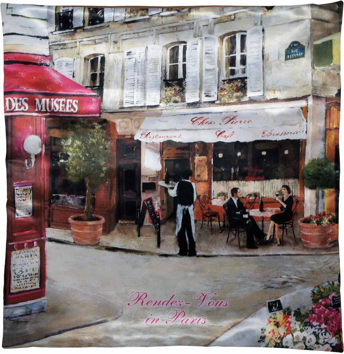 Наволочка для декоративной подушки GiftnHome Свидание в Париже, цвет: красный, бежевый, зеленый, 45 х 45 смU210DFИзделие изготовлено из искусственного шелка - атласа! Наволочка на молнии