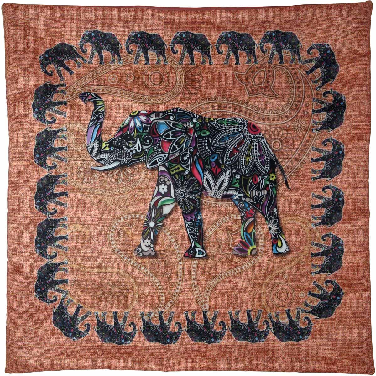 Наволочка для декоративной подушки GiftnHome Слон, цвет: персиковый, черный, 40 х 40 смES-412Изделие изготовлено из искусственного шелка - атласа! Наволочка на молнии