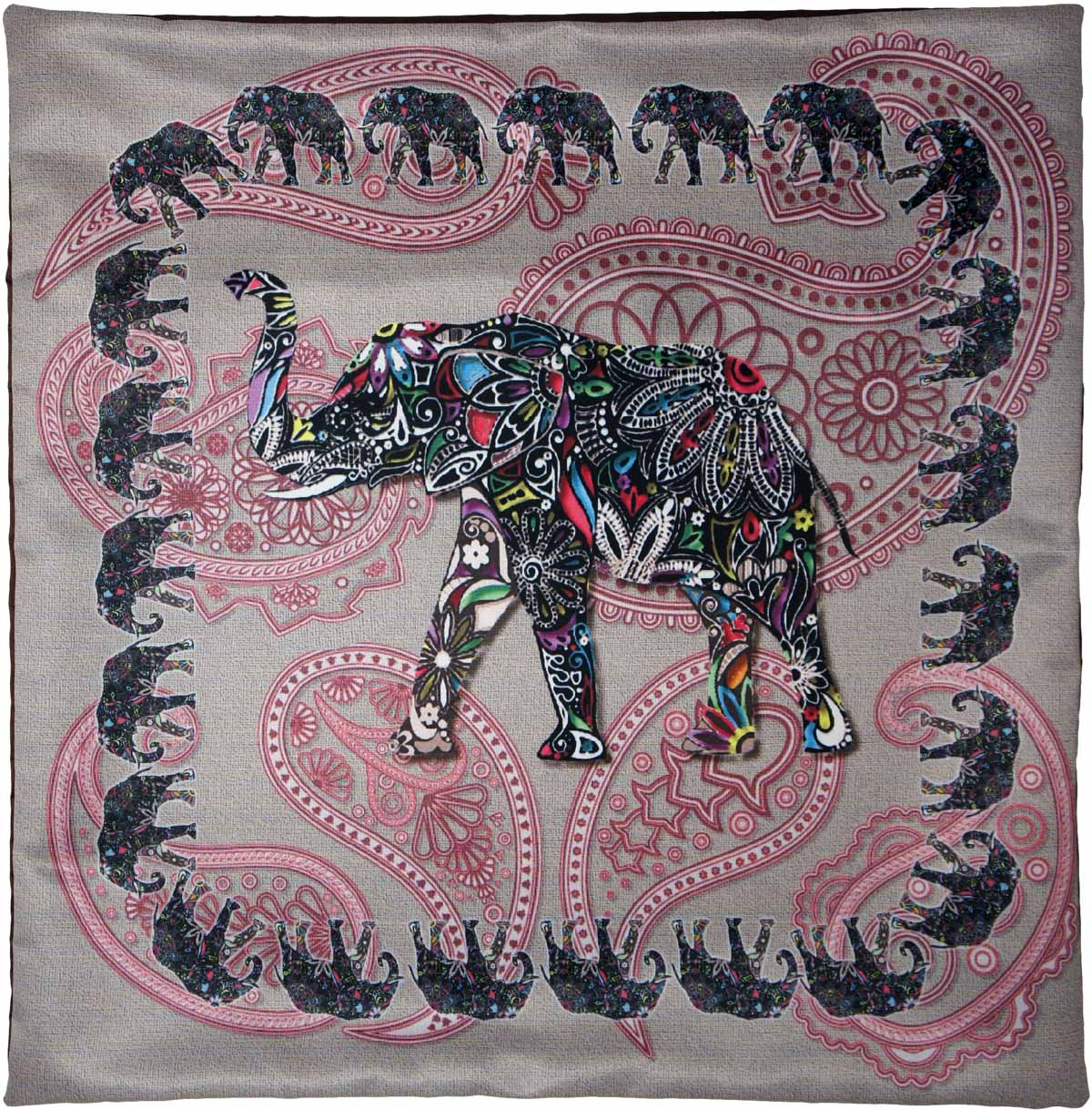 Наволочка для декоративной подушки GiftnHome Слон, цвет: серый, розовый, черный, 45 х 45 смRC-100BWCИзделие изготовлено из искусственного шелка - атласа! Наволочка на молнии