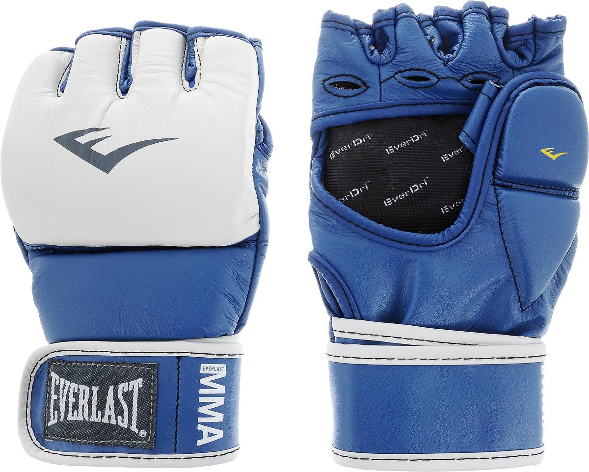 Перчатки тренировочные Everlast MMA Grappling, цвет: синий, белый. Размер S/M7684BLSMUТренировочные перчатки Everlast MMA Grappling предназначены для отработки захватов. Натуральная кожа высшего качества вкупе с превосходным дизайном гарантируют долговечность и функциональность. Перчатки идеально повторяют все анатомические изгибы кистиЗащита большого пальца состоит из двух секций для большей свободы, швы на ладони значительно усилены. Обмотки с застежкой на липучке позволяют подогнать перчатки по вашей руке, а также обеспечивают максимальную фиксацию запястья.