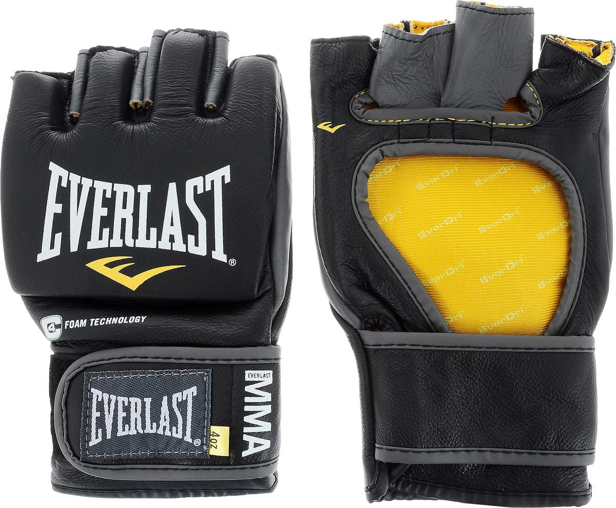 Перчатки боевые Everlast MMA Competition, без пальца цвет: черный, белый, желтый. Размер XL310995Everlast MMA Competition - удобные и прочные перчатки для занятий Смешанными Боевыми Искусствами, сшитые специально для профессионалов. Благодаря своему обновленному эргономичному дизайну, эти боевые перчатки прекрасно подходят как для отработки захватов во время тренировок, так и для выступлений на соревнованиях.Перчатки изготовлены из высококачественной натуральной кожи, что обеспечивает значительный запас прочности и высокую износоустойчивость. Широкая застежка на липучке позволяет подогнать перчатки под вашу руку, в тоже время плотно фиксируя запястье, что значительно снижает риск получить травму во время боя.Если вам необходимы новые перчатки для выступления на соревнованиях, смело выбирайте Everlast MMA Competition.
