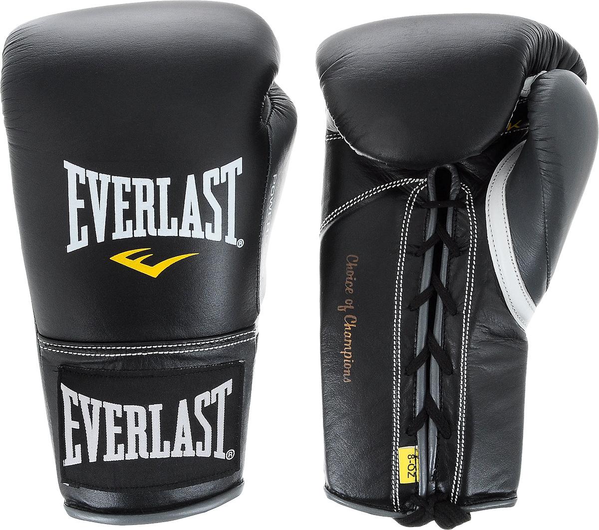 Перчатки боевые Everlast Powerlock, цвет: черный, серый. Вес 8 унцийAIRWHEEL Q3-340WH-BLACKБоевые перчатки на шнуровке Everlast Powerlock изготавливаются из натуральной кожи премиум класса, выдерживающей длительные нагрузки. Благодаря пенному наполнителю, выложенному по технологии Powerlock, обеспечивается идеальный баланс между силой удара и защитой от травм. Эргономический дизайн перчатки позволяет руке принимать правильную и удобную форму кулака, делая удар быстрым и безопасным одновременно. Предназначены для профессиональных боев.