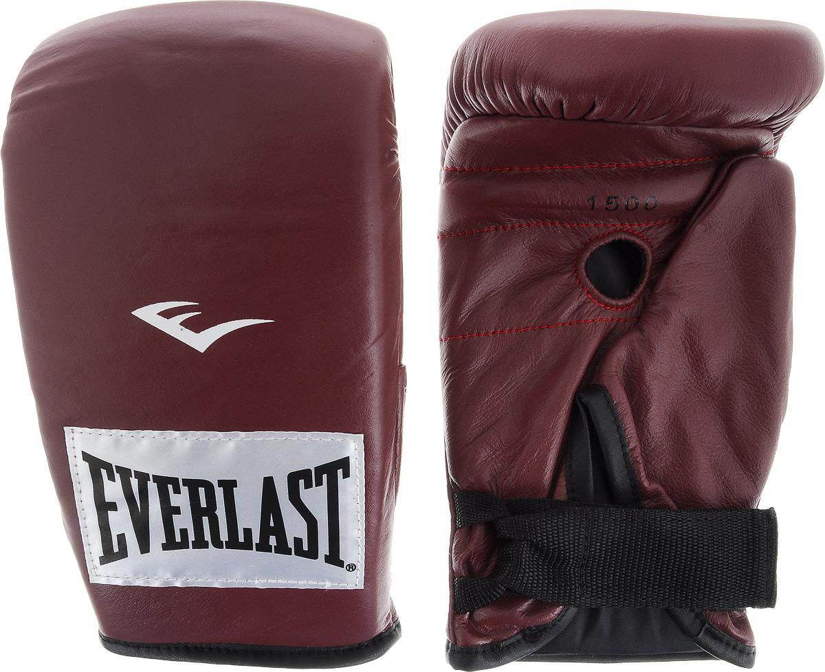 Перчатки снарядные Everlast, профессиональные, цвет: бордовый, белый. Размер LAIRWHEEL Q3-340WH-BLACKПара снарядных перчаток Everlast для работы на тяжелых мешках выполнена из натуральной кожи высшего качества и оснащена удобной застежкой. Плотный пенный наполнитель и вес идеален для разминок с мешком. Хлопковый лайнер обеспечивает комфорт руки внутри перчатки.