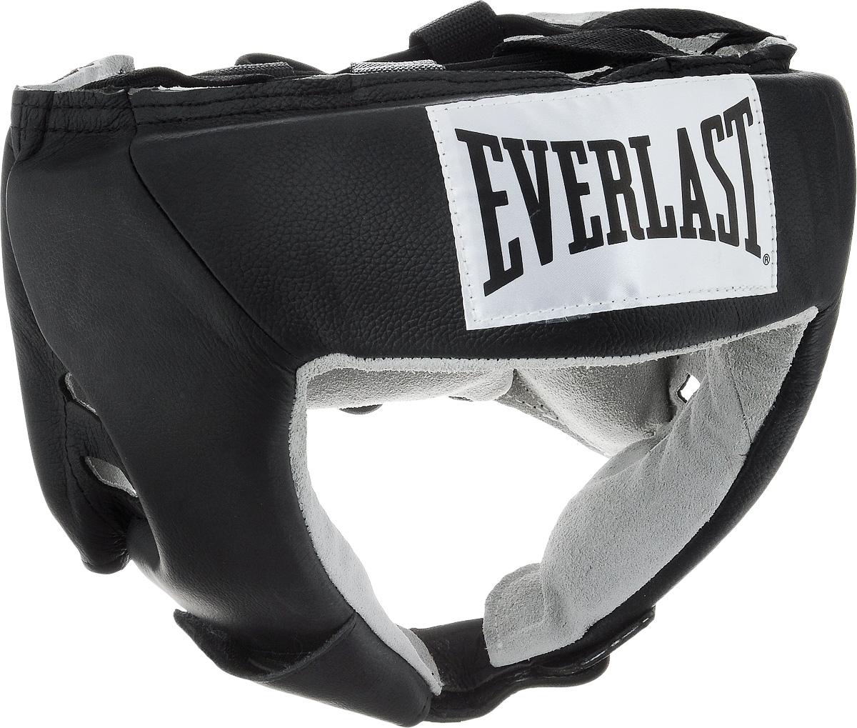 Шлем боксерский Everlast USA Boxing, цвет: черный, белый. Размер XL610601UEverlast USA Boxing - боксерский шлем, разработанный для выступления на любительских соревнованиях и одобренный ассоциацией USA Boxing. Плотный четырехслойный пенный наполнитель превосходно амортизирует удары и значительно снижает риск травмы. Качественная натуральная кожа (снаружи) и не менее качественная замша (внутри) обеспечивают значительный запас прочности и отличную износоустойчивость. Подгонка под необходимый размер и фиксация на голове происходят за счет затягивающихся шнурков.Если вы еще ищите шлем для предстоящих соревнований, то Everlast USA Boxing - это ваш выбор!Диаметр головы: 21 см.