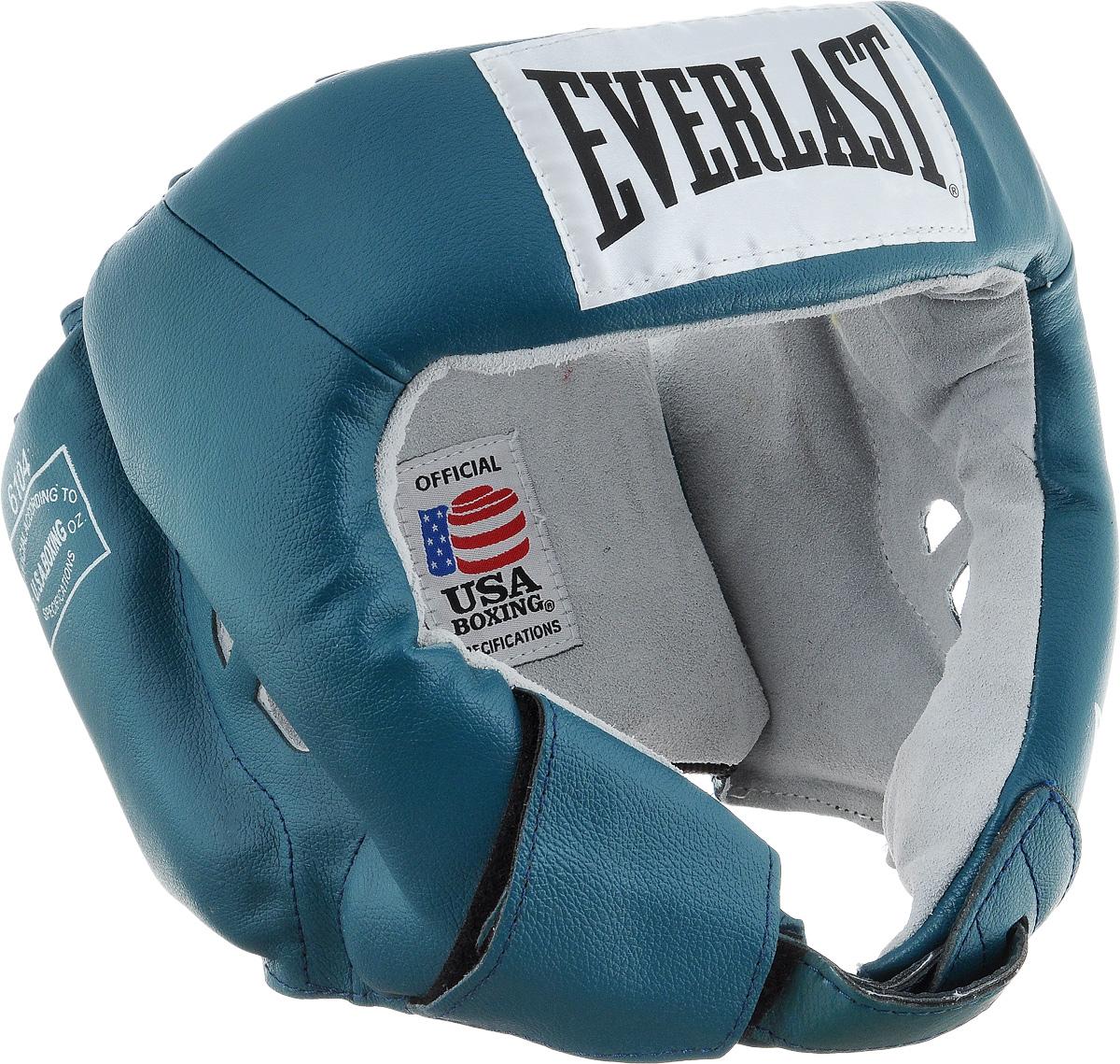 Шлем боксерский Everlast USA Boxing, цвет: бирюзовый, белый. Размер L610400UEverlast USA Boxing - боксерский шлем, разработанный для выступления на любительских соревнованиях и одобренный ассоциацией USA Boxing. Плотный четырехслойный пенный наполнитель превосходно амортизирует удары и значительно снижает риск травмы. Качественная натуральная кожа (снаружи) и не менее качественная замша (внутри) обеспечивают значительный запас прочности и отличную износоустойчивость. Подгонка под необходимый размер и фиксация на голове происходят за счет затягивающихся шнурков.Если вы еще ищите шлем для предстоящих соревнований, то Everlast USA Boxing - это ваш выбор!Диаметр головы: 18 см.