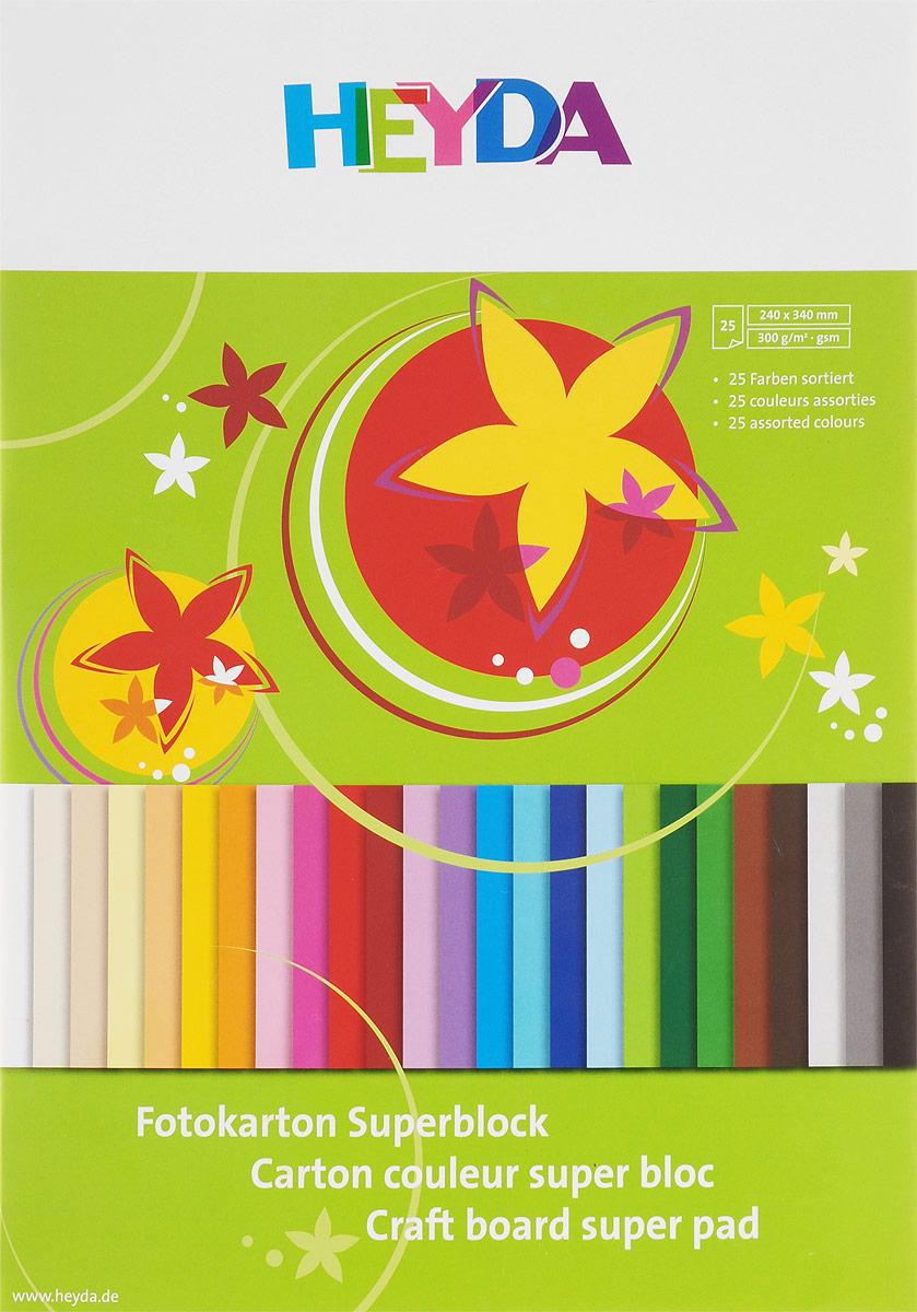 Heyda Цветной картон 25 листов72523WDНабор цветного картона Heyda позволит создавать всевозможные аппликации и поделки. Набор включает 25 листов цветного картона размера 24 см х 34 см. Создание поделок из цветного картона позволяет ребенку развивать творческие способности, кроме того, это увлекательный досуг.