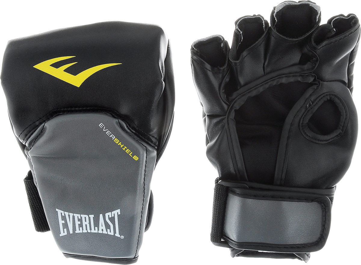 Перчатки для единоборств Everlast Competition Style MMA, цвет: черный, серый, желтый. Размер L/XLAIRWHEEL M3-162.8Everlast Competition Style MMA - это перчатки, в полной мере отвечающие специфическим требованиям, предъявляемым к спортивному снаряжению MMA. Благодаря особенностям технологии Evershield обеспечивается непревзойденная защита и комфорт тыльной стороны кисти — наиболее проблемной и травмируемой зоне. Ударная поверхность сделана немного изогнутой, что также позволяет максимально защитить костяшки в ударной зоне. Перчатки изготовлены из искусственной кожи класса премиум, которая прочнее и надежнее натуральной и довольно приятная на ощупь.