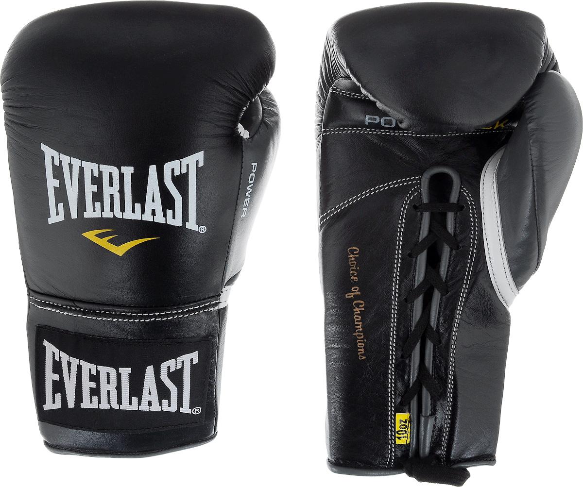 Перчатки боевые Everlast Powerlock, цвет: черный, серый. Вес 10 унцийSF 0085Боевые перчатки на шнуровке Everlast Powerlock изготавливаются из натуральной кожи премиум класса, выдерживающей длительные нагрузки. Благодаря пенному наполнителю, выложенному по технологии Powerlock, обеспечивается идеальный баланс между силой удара и защитой от травм. Эргономический дизайн перчатки позволяет руке принимать правильную и удобную форму кулака, делая удар быстрым и безопасным одновременно. Предназначены для профессиональных боев.
