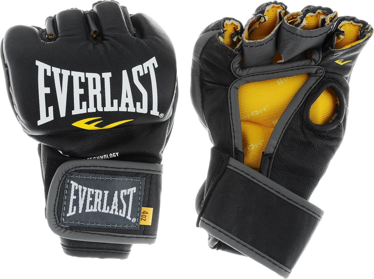 Перчатки боевые Everlast MMA Competition, без пальца цвет: черный, белый, желтый. Размер L291100Everlast MMA Competition - удобные и прочные перчатки для занятий Смешанными Боевыми Искусствами, сшитые специально для профессионалов. Благодаря своему обновленному эргономичному дизайну, эти боевые перчатки прекрасно подходят как для отработки захватов во время тренировок, так и для выступлений на соревнованиях.Перчатки изготовлены из высококачественной натуральной кожи, что обеспечивает значительный запас прочности и высокую износоустойчивость. Широкая застежка на липучке позволяет подогнать перчатки под вашу руку, в тоже время плотно фиксируя запястье, что значительно снижает риск получить травму во время боя.Если вам необходимы новые перчатки для выступления на соревнованиях, смело выбирайте Everlast MMA Competition.