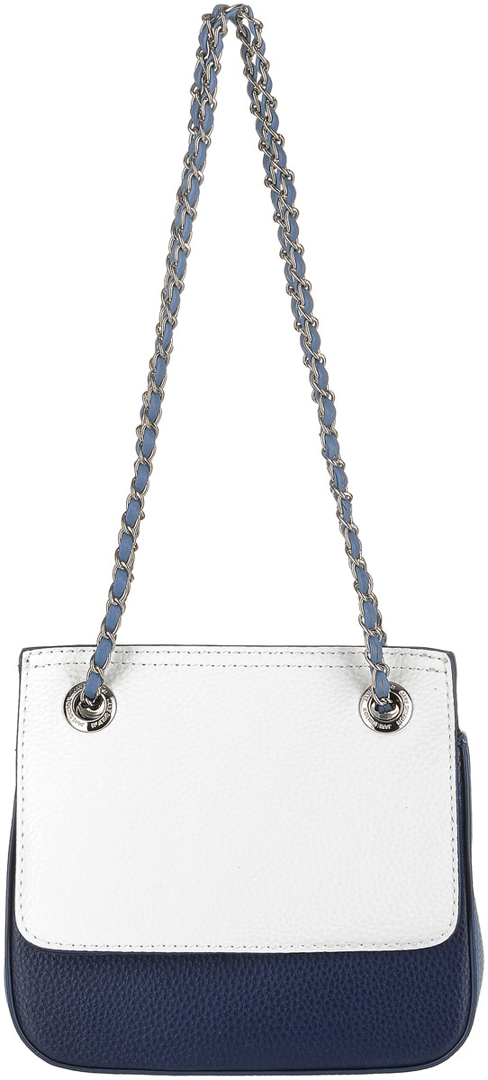 Сумка женская Jane Shilton, цвет: темно-синий. 2310BM8434-58AEЭффектная сумочка Jane Shilton выполнена из искусственной кожи. Модель с застежкой на клапан с магнитом. Внутри отделения для карточек, кармашек на молнии. Ремень переплетен цепочкой, можно носить как по всей длине, так и сложенный вдвое.