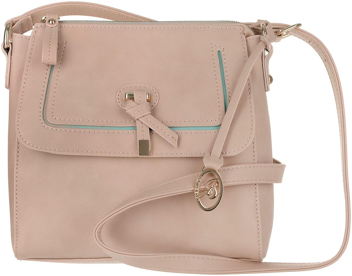 Сумка женская Jane Shilton, цвет: бежевый. 231611351BL-W1Прекрасная сумочка на длинном регулируемом ремне. Застежкой на молнию. Внутри потайной кармашек на молнии и для мобильного телефона. Спереди карман на магните с клапаном.