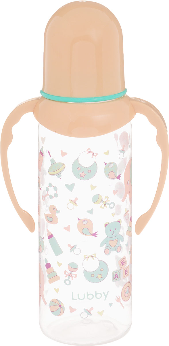 Lubby Бутылочка для кормления с силиконовой соской от 0 месяцев цвет прозрачный бежевый 250 мл