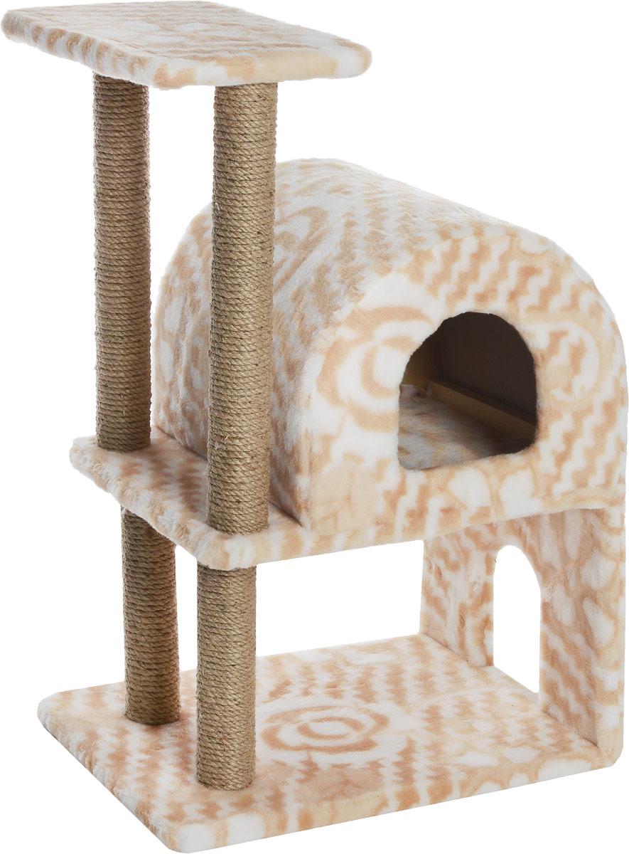 Домик-когтеточка Меридиан, полукруглый, двухэтажный, с полкой, цвет: белый, бежевый, 55 х 40 х 85 см0120710Домик-когтеточка Меридиан выполнен из высококачественного ДВП и ДСП и обтянут искусственным мехом. Изделие предназначено для кошек. Ваш домашний питомец будет с удовольствием точить когти о специальные столбики, изготовленные из джута. А отдохнуть он сможет либо на полке, либо в домике. Домик-когтеточка Меридиан принесет пользу не только вашему питомцу, но и вам, так как он сохранит мебель от когтей и шерсти.Общий размер: 55 х 40 х 85 см.Размер нижнего домика: 40 х 40 х 33 см.Размер полки: 40 х 25 см.
