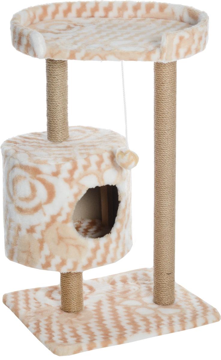 Домик-когтеточка Меридиан, круглый, с площадкой, цвет: белый, бежевый, 52 х 52 х 105 смД517ЦвДомик-когтеточка Меридиан выполнен из высококачественного ДВП и ДСП и обтянут искусственным мехом. Изделие предназначено для кошек. Ваш домашний питомец будет с удовольствием точить когти о специальные столбики, изготовленные из джута. А отдохнуть он сможет либо на полке, либо в домике. Изделие снабжено подвесной игрушкой. Домик-когтеточка Меридиан принесет пользу не только вашему питомцу, но и вам, так как он сохранит мебель от когтей и шерсти.Общий размер: 52 х 52 х 105 см.Размер домика: 35 х 35 х 32 см.Размер полки: 51 х 29 см.