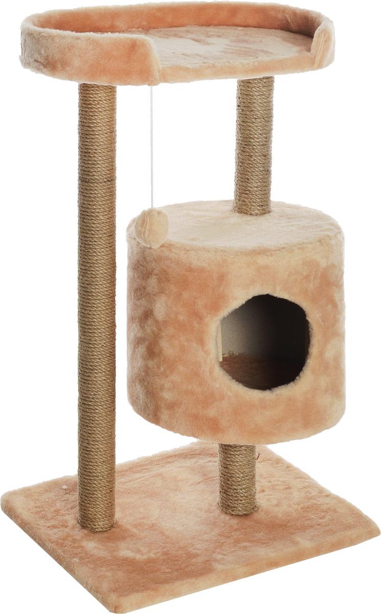 Домик-когтеточка Меридиан, круглый, с площадкой, цвет: светло-коричневый, бежевый, 52 х 52 х 105 см0120710Домик-когтеточка Меридиан выполнен из высококачественного ДВП и ДСП и обтянут искусственным мехом. Изделие предназначено для кошек. Ваш домашний питомец будет с удовольствием точить когти о специальные столбики, изготовленные из джута. А отдохнуть он сможет либо на полке, либо в домике. Изделие снабжено подвесной игрушкой. Домик-когтеточка Меридиан принесет пользу не только вашему питомцу, но и вам, так как он сохранит мебель от когтей и шерсти.Общий размер: 52 х 52 х 105 см.Размер домика: 35 х 35 х 32 см.Размер полки: 51 х 29 см.