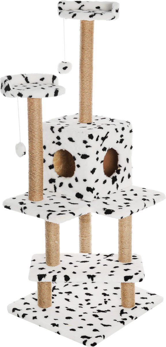 Игровой комплекс для кошек Меридиан Лестница, цвет: белый, черный, бежевый, 56 х 50 х 142 смД151ДИгровой комплекс для кошек Меридиан Лестница выполнен из высококачественного ДВП и ДСП и обтянут искусственным мехом. Изделие предназначено для кошек. Ваш домашний питомец будет с удовольствием точить когти о специальные столбики, изготовленные из джута. А отдохнуть он сможет либо на полках, либо в домике. Общий размер: 56 х 50 х 142 см.Размер верхних полок: 27 х 27 см.Размер домика: 31 х 31 х 32 см.