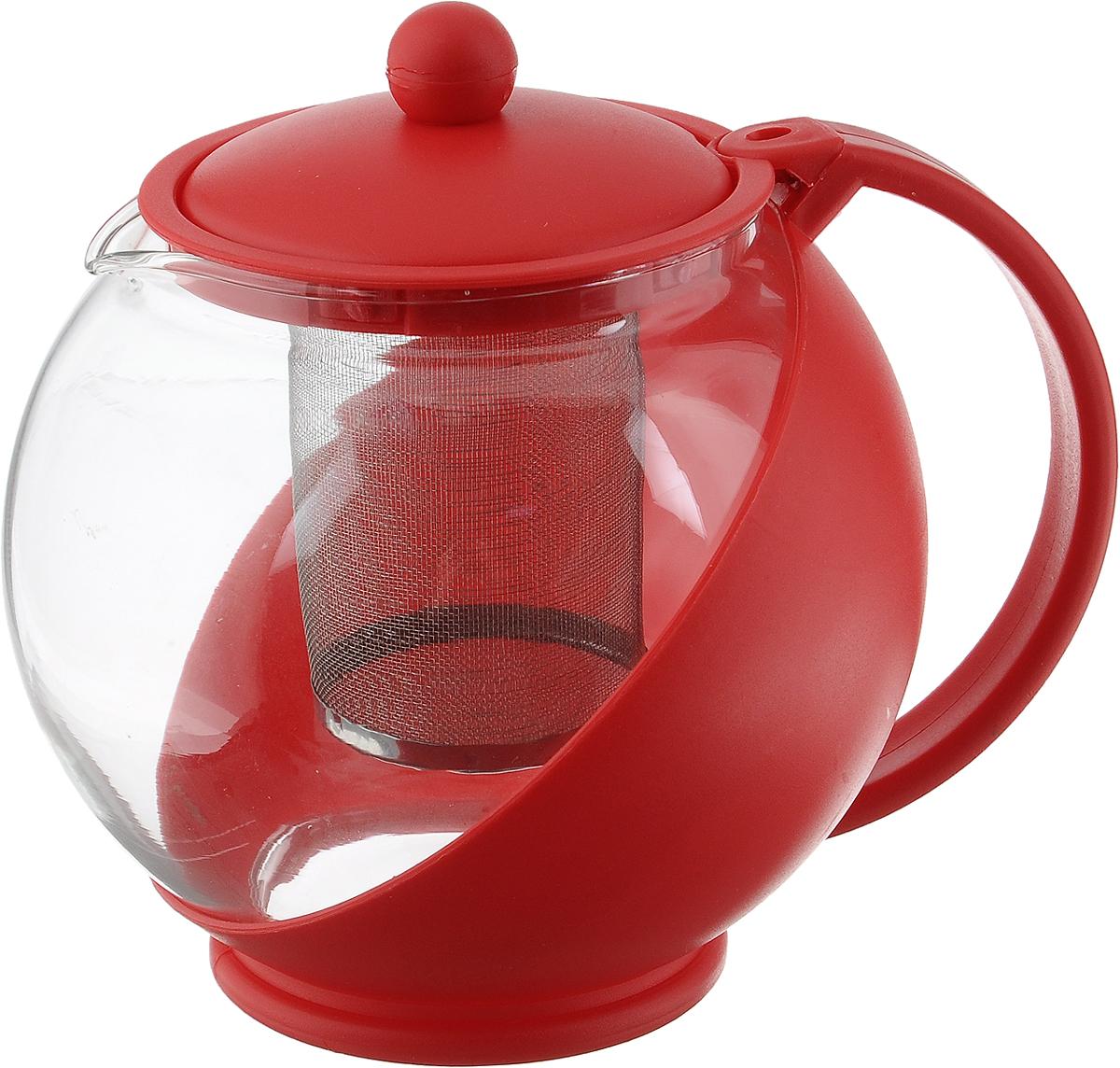 Чайник заварочный Mayer & Boch, с фильтром, цвет: прозрачный, красный, 1,25 л391602Заварочный чайник Mayer & Boch, выполненный из пластика и стекла, предоставит вам все необходимые возможности для успешного заваривания чая.Чайник оснащен крышкой и сетчатым фильтром из металла, который задерживает чаинки и предотвращает их попадание в чашку. Чай в таком чайнике дольше остается горячим, а полезные и ароматические вещества полностью сохраняются в напитке.Эстетичный и функциональный чайник будет оригинально смотреться в любом интерьере.Диаметр чайника (по верхнему краю): 9,6 см.Высота чайника (без учета крышки): 13 см.Размер ситечка: 6 х 6 х 7,8 см.