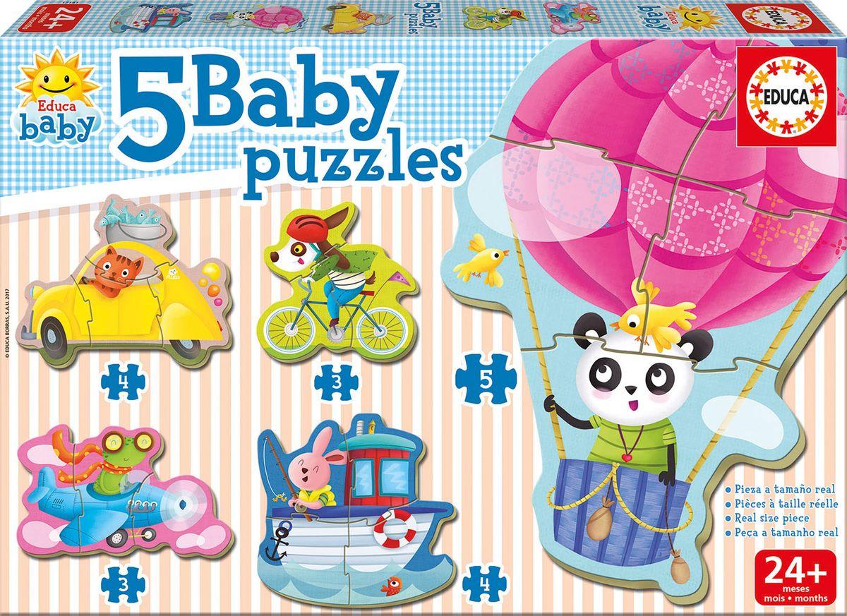 Educa Пазл для малышей Животные на транспорте 5 в 1