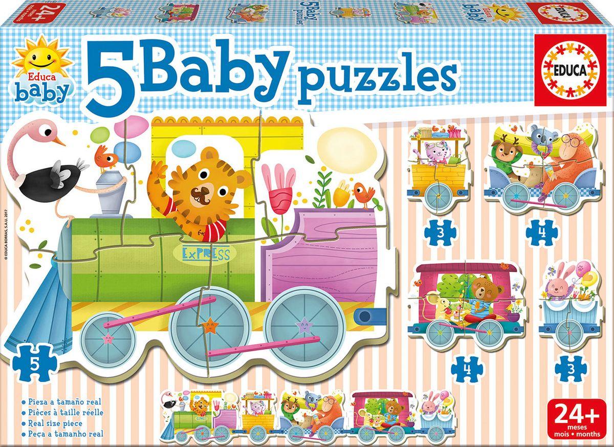 Educa Пазл для малышей Животные в паровозе 5 в 1 развивающая игра пазл educa животные