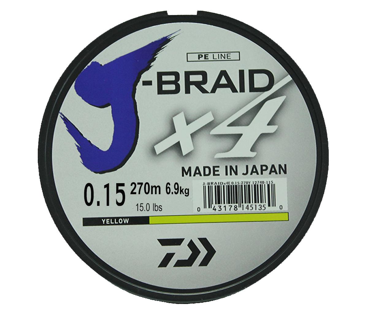 Шнур плетеный Daiwa J-Braid X4, цвет: флуоресцентный желтый, 270 м, 0,15 ммPGPS7797CIS08GBNVНовый 4х жильный шнур J-Braid, DAIWA - шнур высокого класса с удивительным соотношением цены и качества. Качество плетения полностьюсоответствует японским стандартам и удовлетворяет всем требованиям. Представленные диаметры позволяют использовать шнур для всех техникловли, начиная от ultra- light ловли окуня, до морской ловли палтуса, трески и т.д