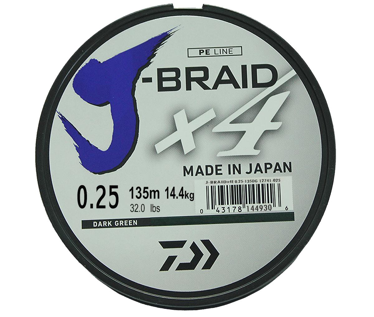 Шнур плетеный Daiwa J-Braid X4, цвет: зеленый, 135 м, 0,25 мм61165Новый 4х жильный шнур J-Braid, DAIWA - шнур высокого класса с удивительным соотношением цены и качества. Качество плетения полностьюсоответствует японским стандартам и удовлетворяет всем требованиям. Представленные диаметры позволяют использовать шнур для всех техникловли, начиная от ultra- light ловли окуня, до морской ловли палтуса, трески и т.д
