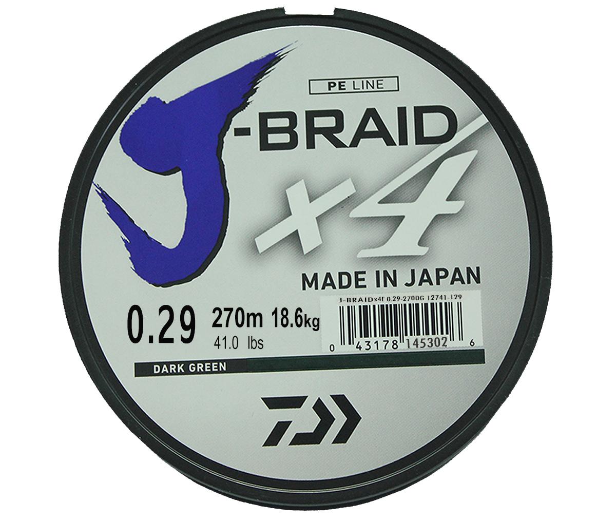 Шнур плетеный Daiwa J-Braid X4, цвет: зеленый, 270 м, 0,29 мм61176Новый 4х жильный шнур J-Braid, DAIWA - шнур высокого класса с удивительным соотношением цены и качества. Качество плетения полностьюсоответствует японским стандартам и удовлетворяет всем требованиям. Представленные диаметры позволяют использовать шнур для всех техникловли, начиная от ultra- light ловли окуня, до морской ловли палтуса, трески и т.д