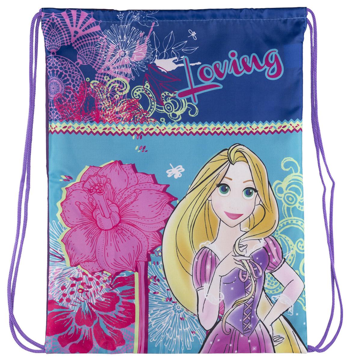 Disney Princess Сумка-рюкзак для обуви Princess цвет голубой PRCB-RT2-88037173Сумка для сменной обуви Princess идеально подойдет как для хранения, так и для переноски сменной обуви и одежды. Сумка выполнена из прочного полиэстера и содержит одно вместительное отделение, затягивается сверху шнуром-лямкой и носится как рюкзак.Оформлено изделие изображением персонажа мультфильма Princess.