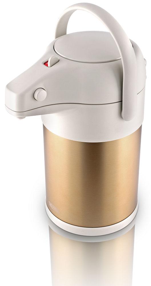 Термос Thermos, цвет: золотой матовый, 3 л. TAH-3000428974Термос TAH-3000 из нержавеющей стали подходит для долгого и приятного чаепития в большой компании..Технология создания глубокого вакуума между стенками термоса, изолированная крышка способствуют лучшей теплоизоляции, поднимают характеристики удержания температуры до фантастических значений. Вращающееся основание корпуса позволяет легко поворачивать термос на 360 градусов. Мощный ручной пневмонасос быстро наполняет чашки кипятком. Имеется удобная ручка для переноски.Объем: 3 л.