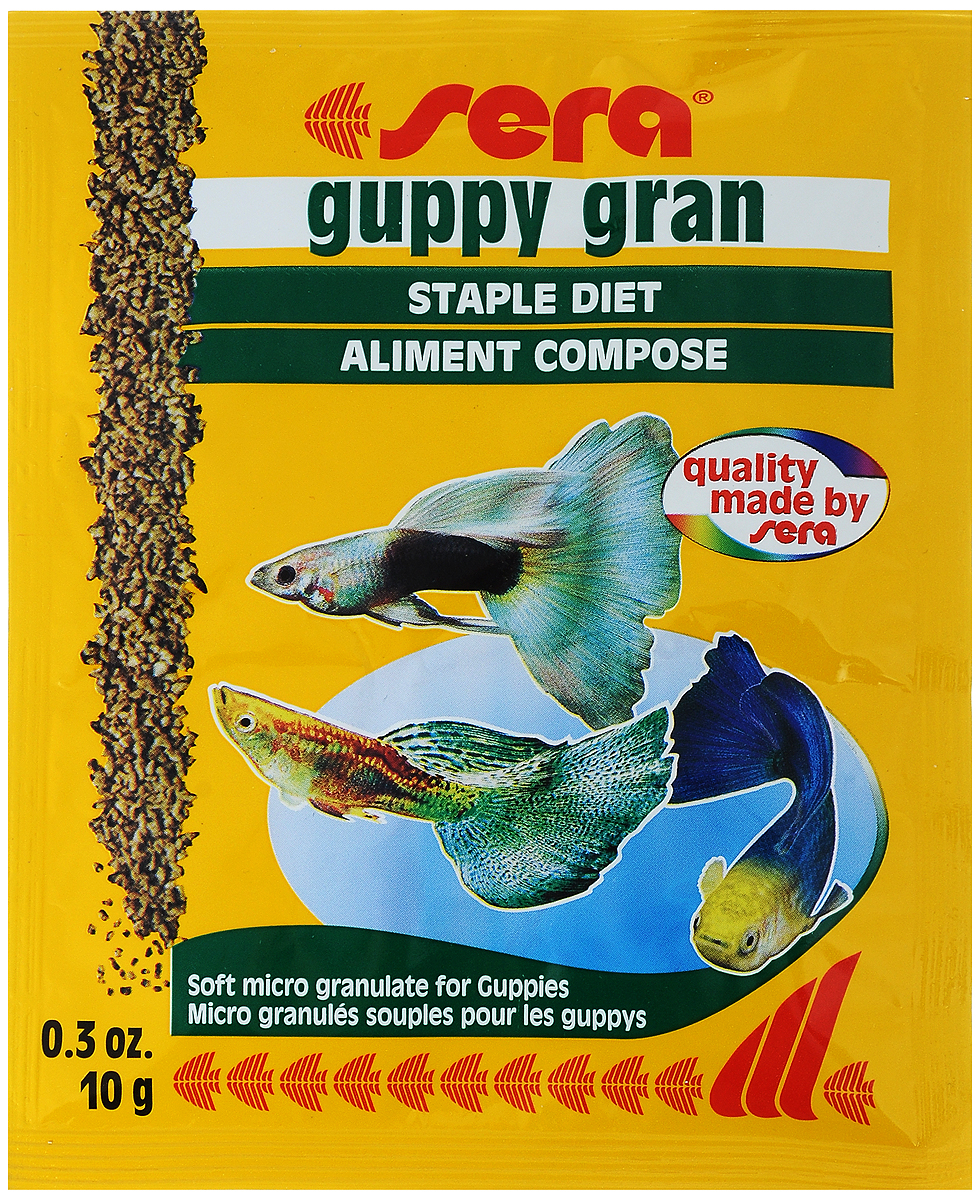Корм для рыб Sera Guppy Gran, 10 г0120710Специальный корм Sera Guppy Gran с ценными растительными компонентами предназначен для гуппи и других мелких рыб. Тщательно подобранные ингредиенты корма с пребиотическим действием способствуют оптимальному развитию, устойчивости к заболеваниям и яркой окраске. Ингредиенты: кукурузный крахмал, пшеничная клейковина, рыбная мука, рыбий жир, измельченная спирулина, пивные дрожи, мука из зародышей пшеницы, травы, мука люцерны, мука из крапивы, мука из гаммаруса, мука из морских водорослей, петрушка, паприка, мука из шпината, морковь, мука из мидий, чеснок.Витамины:вит.А-38200МЕ/кг, вит.D3-2000МЕ/кг, вит.Е-120МЕ/кг, вит.В-130мг/кг, вит.В-290мг/кг, вит.С-550мг/кг.Состав: протеин 34,2%, сырой жир 6,6%, сырая клетчатка 4,4%, влажность 6,7%, зола 5,0%.Товар сертифицирован.