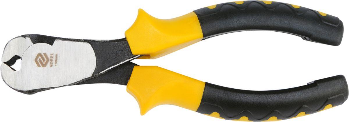 Кусачки торцевые Vorel, 160 мм30023Кусачки торцевые предназначены для электромонтажных работ. Изготовлены из углеродистой стали повышенной прочности. Рукоятки имеют изоляцию и покрыты специальной шероховатой резиной, что предотвращает соскальзывание инструмента. Форма конструкции позволяет работать вплотную к поверхности и перекусывать прочные материалы.