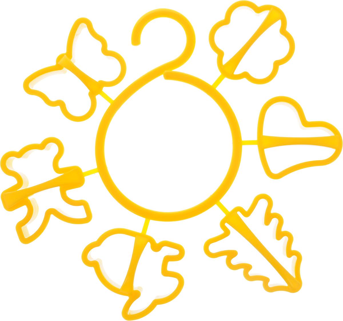 Набор форм для печенья Idea, цвет: желтый, 6 шт391602Набор Idea состоит из 6 форм, выполненных из полипропилена. Формы предназначены для приготовления печенья оригинальных форм. Набор позволит приготовить выпечку по вашему любимому рецепту, но в оригинальном праздничном оформлении, которое придется по душе всей семье.В комплекте входит специальный круговой крючок на который можно надеть формочки и повесить на кухне. Средний размер форм: 6,5 х 6 х 2,5 см.