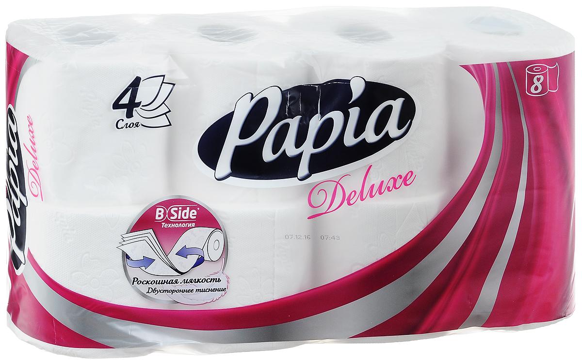 Туалетная бумага Papia Deluxe, четырехслойная, цвет: белый, 8 рулонов010-01199-23Четырехслойная туалетная бумага Papia Deluxe изготовлена из целлюлозы высшего качества. Листы оформлены тисненым рисунком в виде цветов и надписи Papia. Мягкая, нежная, но в тоже время прочная, бумага не расслаивается и отрывается строго по линии перфорации. Бумагане ароматизирована.Туалетная бумага Papia Deluxe предназначена для тех, кто хочет, чтобы ванная была самая уютная на свете. Товар сертифицирован.Материал: 100% целлюлоза.Количество листов (в одном рулоне): 140 шт.Количество слоев: 4.Размер листа: 9,5 см х 12,5 см.Длина рулона: 17,5 м.Уважаемые клиенты!Обращаем ваше внимание на возможные изменения в дизайне упаковки. Качественные характеристики товара остаются неизменными. Поставка осуществляется в зависимости от наличия на складе.