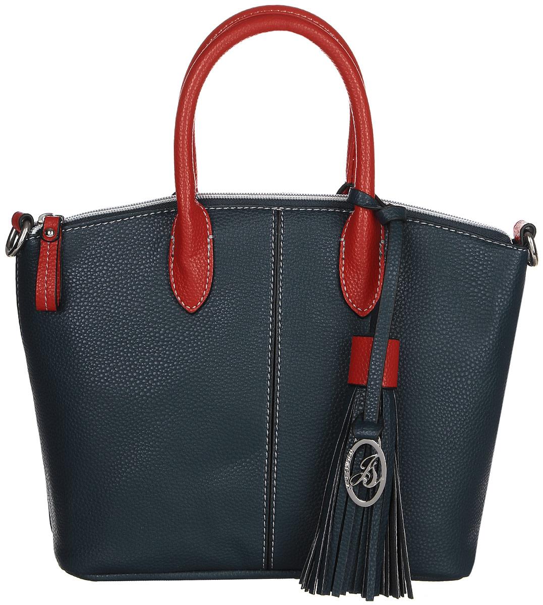 Сумка женская Jane Shilton, цвет: синий. 2327navyL39845800Стильная сумка на двух коротких ручках и съемном регулируемом ремне. Застегиваются на молниию. Внутри потайной кармашек на молнии и для мобильного телефона. Сзади прорезной карман на молнии. Высота ручек 12см.