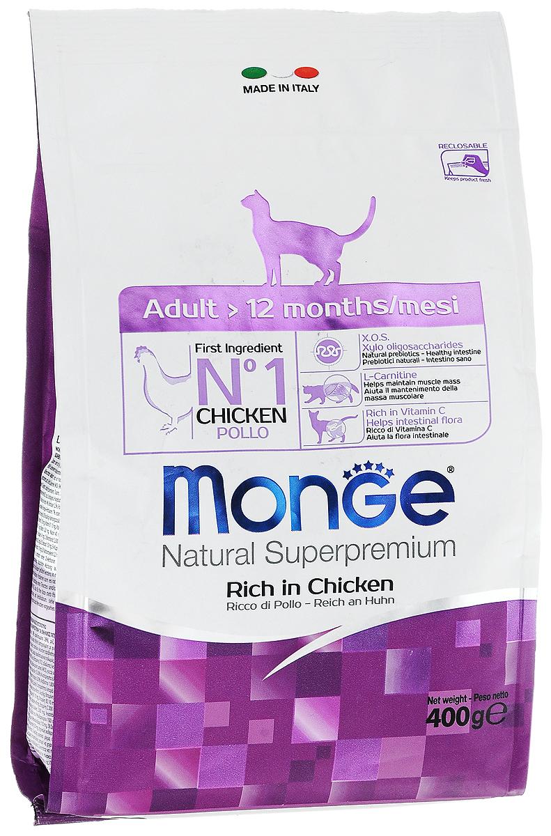 Корм сухой Monge для взрослых кошек, 400 г0120710Сухой корм Monge - это полноценный, очень вкусный и высоко усваиваемый корм для домашних и уличных кошек возрастом от 1 до 10 лет. Оптимальное соотношение между жировыми кислотами Омега-3 и Омега-6 противодействует воспалительным процессам и аллергическим реакциям. Помогает поддерживать остроту зрения вашей кошки и здоровое сердце. Также богат витамином С и ингредиентами которые гарантируют превосходный баланс кишечной флоры. Соответствующее соотношение кальция и фосфора гарантирует гармоничное развитие скелета и зубов. Также корм содержит L- карнитин, предотвращающий накопление жира и защищающий работу печени и сердца.Состав: куриное мясо (свежее мин. 10%, обезвоженное мин. 35%), кукурузный глютен, кукуруза, рис, куриное масло, свекольный жом, масло лосося, дрожжи, яичный крахмал, Юкка Шидигера, фруктоолигосахариды 336 мг/кг, маннан-олигосахариды 336 мг/кг.Анализ: протеин 33%, масла и жиры 16%, сырая клетчатка 3%, сырая зола 8%, магний 0,15%, кальций 1,79%, фосфор 1,31%, линолевая кислота 3,30%, Омега-6 2,98%, Омега-3 0,58%.Пищевые добавки, витамины: витамин А 20000 МЕ/кг, витамин D3 1390 МЕ/кг, витамин Е 128 мг/кг, витамин С 35 мг/кг, таурин 713 мг/кг, холина хлорид 200 мг/кг, хлорид натрия 2971 мг/кг, витамин B1 14 мг/кг, витамин B2 10 мг/кг, витамин В6 5 мг/кг, витамин В12 0,089 мг/кг, биотин 0,26 мг/кг, витамин РР 25 мг/кг, L-карнитин 20 мг/кг, цинк 140 мг/кг, железо 87 мг/кг, марганец 33 мг/кг, медь 14 мг/кг, йод 0,87 мг/кг, аминокислоты (метионин 685 мг/кг).Товар сертифицирован.Уважаемые клиенты!Обращаем ваше внимание на возможные изменения в дизайне упаковки. Качественные характеристики товара остаются неизменными. Поставка осуществляется в зависимости от наличия на складе.
