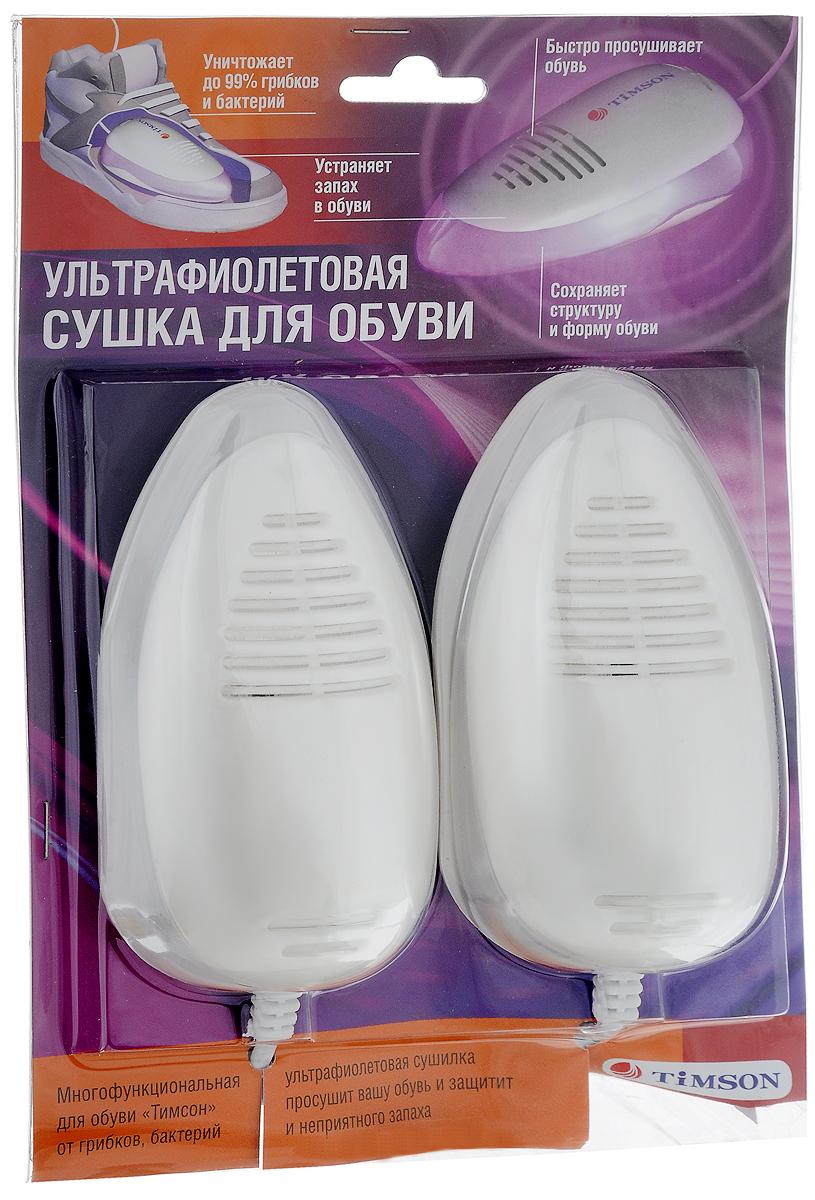 Ультрафиолетовая сушка для обуви Timson, цвет: молочный2416Противогрибковая и антибактериальная сушка для обуви Timson с ультрафиолетовым излучением, выполненная из пластика, является уникальным высокоэффективным изобретением. Сушка Timson позволяет уничтожить грибки, бактерии и неприятный запах внутри обуви. Регулярное использование данного набора позволит не только уничтожить грибки, бактерии и запах, но и предотвратит их появление в обуви. Прибор обладает ярко выраженным дезодорирующим эффектом. Также благодаря такой сушке не портится внешний вид обуви и продлевается срок ношения. Изделие может работать беспрерывно 24 часа. Однако рекомендуется обрабатывать обувь 6-10 часов. Сушка комплектуется ультрафиолетовыми излучателями, которые способны непрерывно работать до 8 часов без перегрева. Прибор оснащен конвекционными окнами, сквозь которые УФ-излучение попадает внутрь обуви и производит обеззараживание, нагрев и конвекцию воздуха. Регулярное использование этого электроприбора не приводит к перерасходу электроэнергии и обеспечивает увеличение срока эксплуатации обуви даже в самых экстремальных условиях.Напряжение: 220В.Потребляемая мощность: 5-7 Вт.Температура воздуха при сушке: 60-70°С.Уважаемые клиенты!Обращаем ваше внимание на возможные изменения в дизайне упаковки. Качественные характеристики товара остаются неизменными. Поставка осуществляется в зависимости от наличия на складе.