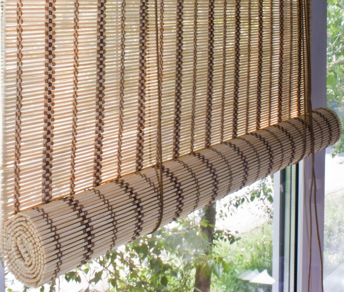 Штора рулонная Эскар Бамбук, цвет: песочный, ширина 80 см, высота 160 см012H1800При оформлении интерьера современных помещений многие отдают предпочтение природным материалам. Штора рулонная Эскар Бамбук - одно из натуральных изделий, способное сделать атмосферу помещения более уютной и в то же время необычной. Свойства бамбука уникальны: он экологически чист, так как быстро вырастает, благодаря чему не успевает накопить вредные вещества из окружающей среды. Кроме того, растение обладает противомикробным и антибактериальным действием. Занавеси из бамбука безопасно использовать в помещениях, где находятся новорожденные дети и люди, склонные к аллергии. Они незаменимы для тех, кто заботится о своем здоровье и уделяет внимание высокому уровню жизни.