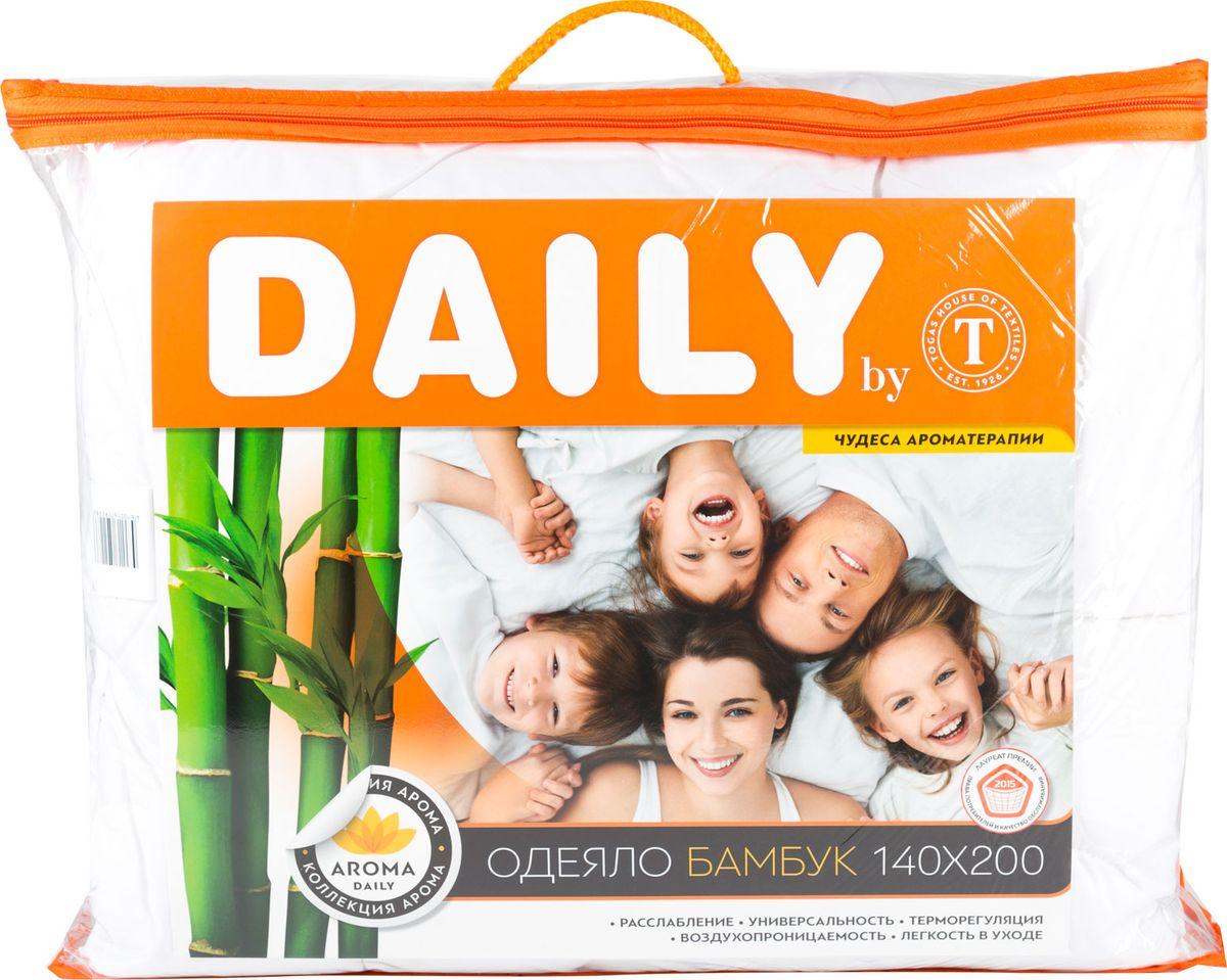 Одеяло Daily by Togas Бамбук, наполнитель: полиэфирное волокно, 140 х 200 см10503Одеяло Daily by Togas Бамбук с бамбуковой пропиткой создано для ценителей экологичных постельных принадлежностей. Оно универсальное, легкое, дышащее и одновременно теплое, поэтому вы можете использовать его круглый год, как зимой, так и летом. Одеяло имеет классический крой, скругленные углы, кант и стежку, которая равномерно распределяет наполнитель внутри. Чехол одеяла выполнен из прочного, износостойкого материала - микрофибры. Это удивительно тонкое, но при этом очень прочное микроволокно, которое отличает экологическая чистота, гипоаллергенность и гигиеничность: оно подходит для людей с чувствительной кожей. Благодаря полиэфирному волокну, одеяло удивительно мягкое, нежное и упругое. При всей своей легкости оно отлично удерживает тепло и в то же время дышит. Бамбуковая пропитка способствует оздоровлению кожи, оказывает антисептический и антибактериальный эффект. Одеяло Daily by Togas Бамбук ухаживает за вами, пока вы спите, поэтому каждое утро вы будете просыпаться бодрым и отдохнувшим. Стирайте в режиме деликатной стирки при температуре не выше 30°С. Возможна сушка при средней температуре. После стирки слегка отожмите, сушите в сухом и теплом помещении на горизонтальной поверхности, периодически взбивая. Уважаемые клиенты! Обращаем ваше внимание на то, что упаковка может иметь несколько видов дизайна. Поставка осуществляется в зависимости от наличия на складе.