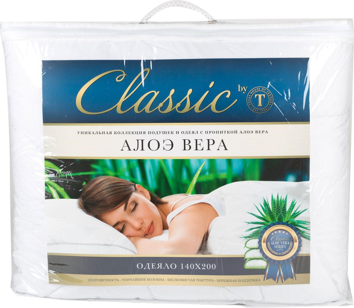 Одеяло Classic by Togas Алоэ вера, наполнитель: синтетический пух, 140 х 200 см42.431Одеяло Classic by Togas Алоэ вера поможет расслабиться, снимет усталость и подарит вам спокойный и здоровый сон.Одеяло с синтетическим наполнителем необычайно легкое, пышное, обладает превосходными теплозащитными свойствами. Такой наполнитель отлично удерживает воздух и тепло, превосходно впитывает влагу и испаряет ее. Это экологически чистый материал с высокими гигиеническими и гипоаллергенными качествами, который к тому же очень практичен. Одеяло с таким наполнителем можно стирать дома, а сохнет оно почти моментально. Чехол одеяла сделан из высокотехнологичной ткани - микрофибры. Она приятна на ощупь и отличается высокой прочностью. Гель алоэ вера, которым пропитаны чехол и наполнитель, обладает уникальными свойствами: оказывает оздоравливающий и тонизирующий эффект, увлажняет кожу, способствует улучшению работы сердца, расслабляет и снимает напряжение в мышцах.