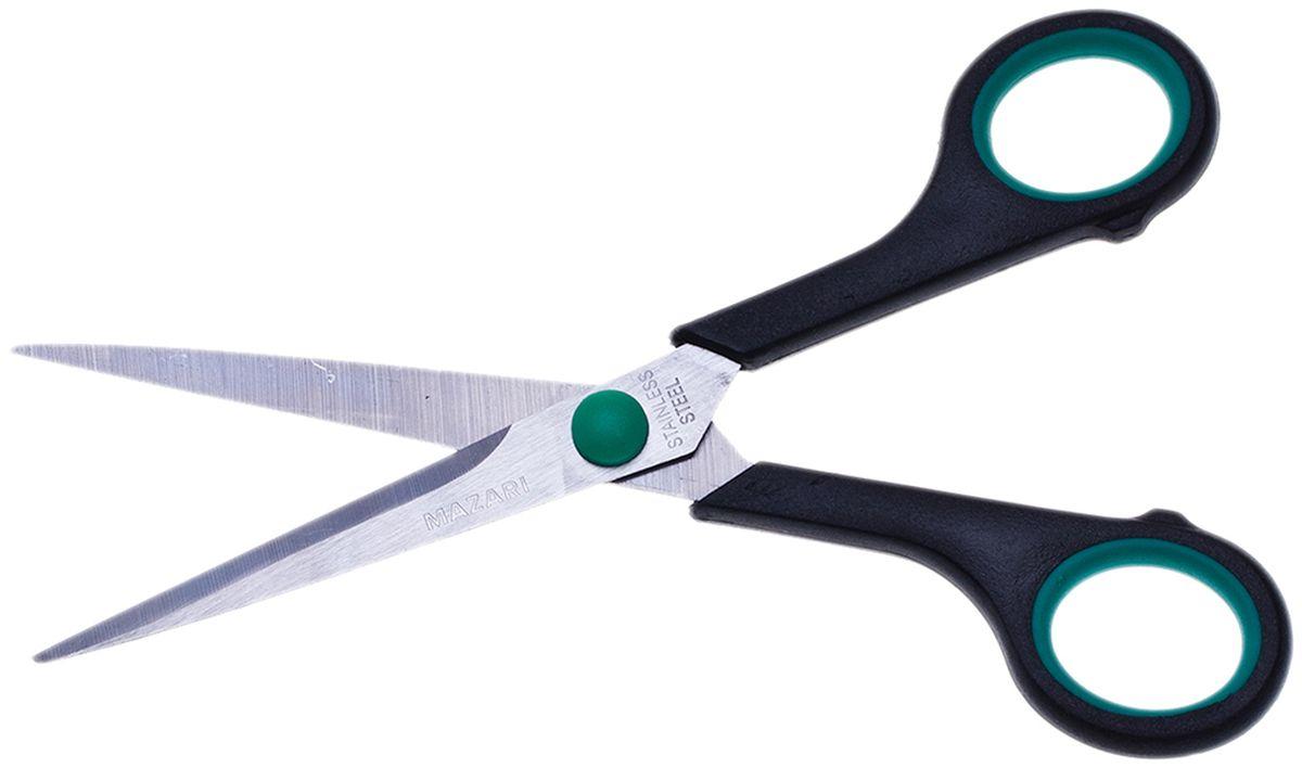 Mazari Ножницы Be Top цвет зеленый 18 смFS-54115Ножницы Mazari Be Top с лезвиями из нержавеющей стали станут прекрасным помощником на вашем столе в офисе или дома!Изделие выполнено в черно-зеленом цвете. Ножницы имеют закругленные концы и пластиковые ручки с резиновыми вставками.Область применения таких ножниц достаточно широка: их можно использовать для разрезания любых видов бумаги и картона.