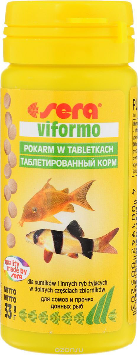 Корм для рыб Sera Viformo, таблетированный, 130 таблеток0520Корм Sera Viformo - идеальный корм для рыб, которые предпочитают находится на дне аквариума. Корм, состоящий из легко усваиваемых таблеток, способствует здоровому развитию и жизнестойкости рыб. Таблетки при опускании на дно делятся на крохотные кусочки, что гарантирует соответствующее питание для рыб с маленьким ртом, например, панцирных сомов или гольцов. Кусочки корма остаются спрессованными и не загрязняют воду.Ингредиенты: рыбная мука, пшеничная мука, сухое молоко, пивные дрожжи, казеинат кальция, гаммарус, цельный яичный порошок, спирулина, морские водоросли, жир из печени рыбы, растительное сырье, люцерна, крапива, мука из зеленых губчатых моллюсков, петрушка, паприка, шпинат, морковь, чеснок.Аналитический состав: протеин 46,6%, жиры 8,9%, клетчатка 3,2%, влажность 5,6%, зольные вещества 11,3%. Содержание добавок: витамин A 30.000 lU/kg, витамин D3 1.500 lU/kg, витамин E (D, L-c-tocopheryl acetate) 60 mg/kg, витамин B1 30 mg/kg, витамин B2 90 mg/kg, стабилизированный витамин С [L-ascorbyl monophosphate) 550 mg/kg. Содержит пищевые красители допустимые в ЕС.Товар сертифицирован.